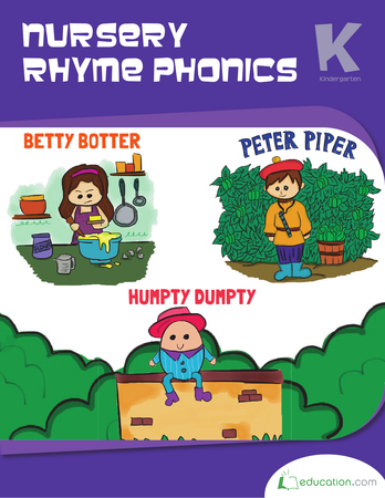 Kindergarten Math Workbooks: Nursery Rhyme Phonics
