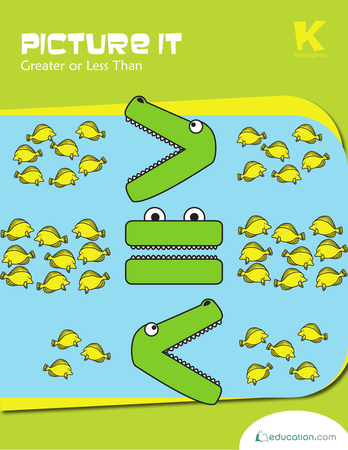 Kindergarten Math Workbooks: Picture It: Greater Than or Less Than