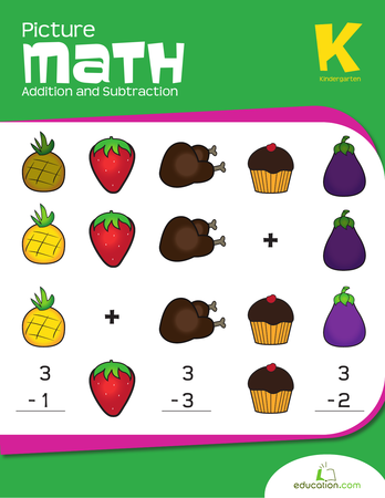 Kindergarten Math Workbooks: Picture Math: Addition and Subtraction