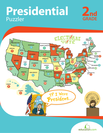 Second Grade Math Workbooks: Presidential Puzzler