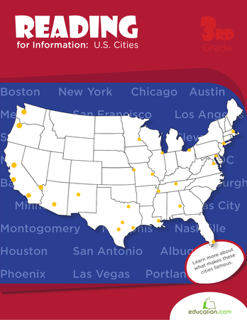 Third Grade Social Studies Workbooks: Reading for Information: U.S. Cities
