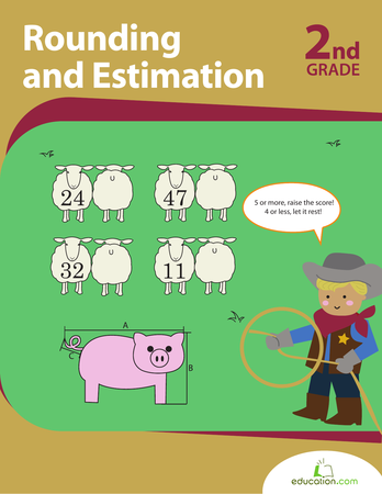 Second Grade Math Workbooks: Rounding and Estimation