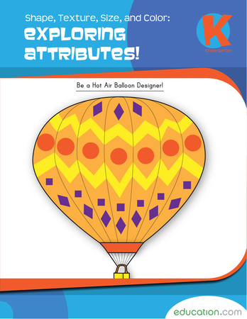 Kindergarten Math Workbooks: Shape, Texture, Size, and Color: Exploring Attributes