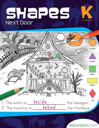 Kindergarten Math Workbooks: Shapes Next Door