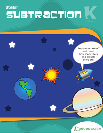 Kindergarten Math Workbooks: Stellar Subtraction