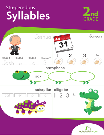Second Grade Reading & Writing Workbooks: Stu-pen-dous Syllables