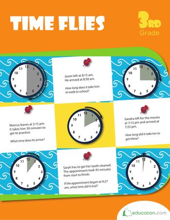 Third Grade Math Workbooks: Time Flies