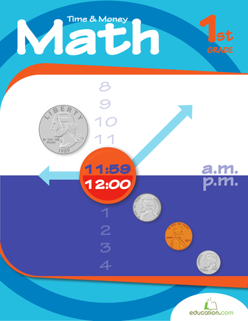 First Grade Math Workbooks: Time and Money Math