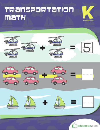 Kindergarten Math Workbooks: Transportation Math