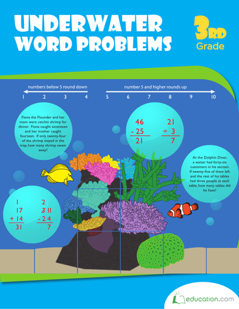 Third Grade Math Workbooks: Underwater Word Problems