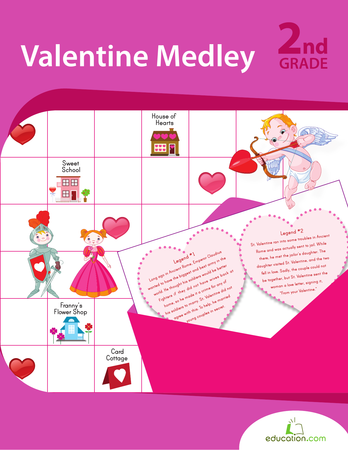 Second Grade Math Workbooks: Valentine Medley