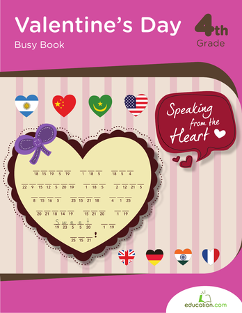 Fourth Grade Math Workbooks: Valentine's Day Busy Book