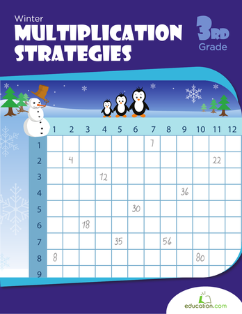 Third Grade Math Workbooks: Winter Multiplication Strategies