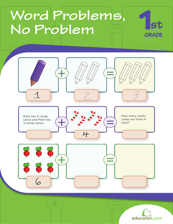 First Grade Math Workbooks: Word Problems, No Problem