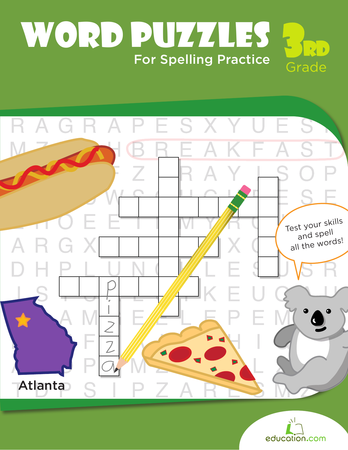 Third Grade Reading & Writing Workbooks: Word Puzzles for Spelling Practice