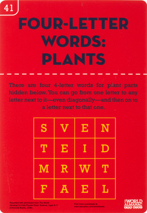 Fourth Grade Science Worksheets: Find Four-Letter Words in this Plant Puzzle
