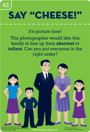 Preschool Math Worksheets: Say Cheese! Order the People in the Picture