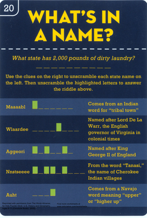 Fourth Grade Social studies Worksheets: What's in a Name: Learn U.S. History