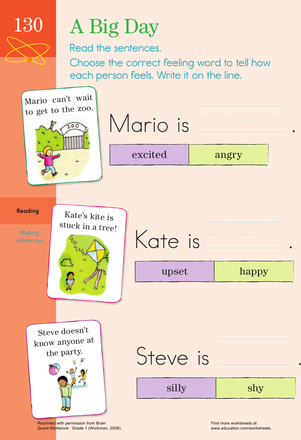 First Grade Reading & Writing Worksheets: Emotional Vocab! Learning Mood Words