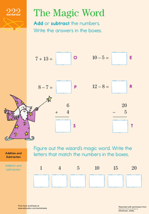 First Grade Math Worksheets: Add and Subtract to Find the Magic Word
