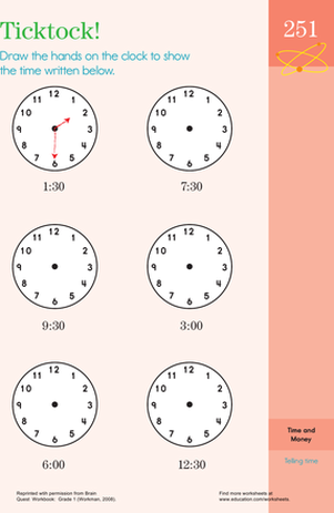 First Grade Math Worksheets: Tick Tock: Learning to Tell the Time