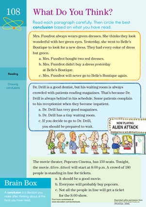 Third Grade Reading & Writing Worksheets: Reading Comprehension: What Do You Think?