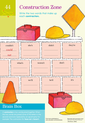 Third Grade Reading & Writing Worksheets: Construction Zone