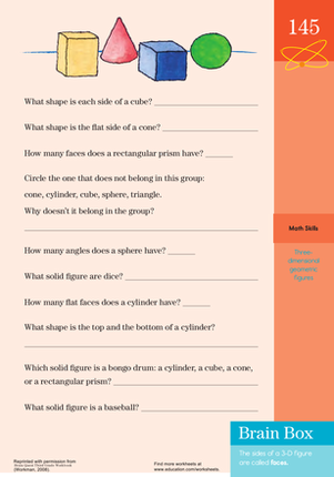 Third Grade Math Worksheets: Shape Quiz