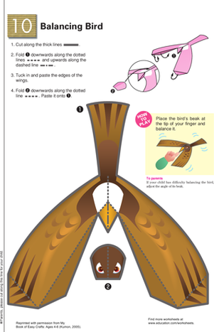 First Grade Science Worksheets: Balancing Bird: Learning About Gravity