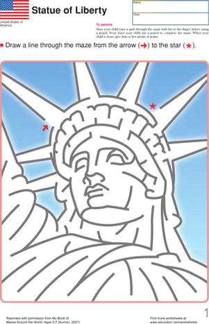A Mazing Lady Liberty Worksheet Education