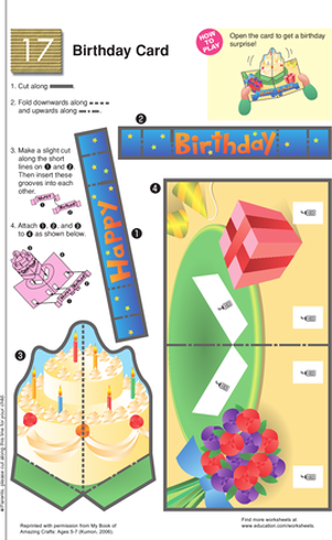 Second Grade Holidays Worksheets: A Cut-Out Birthday Card Surprise!