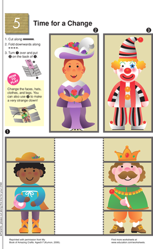 Kindergarten Arts & crafts Worksheets: Costume Change Cut-Out