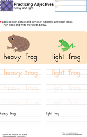 First Grade Reading & Writing Worksheets: Heavy and Light: Practice Building Sentences
