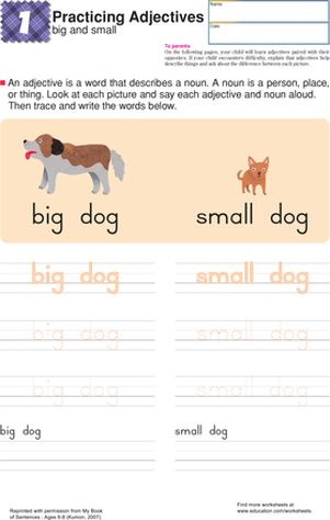 First Grade Reading & Writing Worksheets: Big and Small: Practice Building Sentences