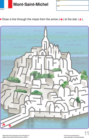 First Grade Offline Games Worksheets: Mont Saint Michel Maze