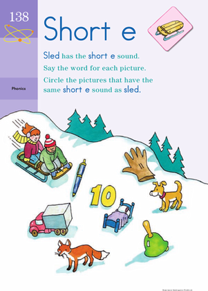 Kindergarten Reading & Writing Worksheets: Sound Off, Short E: Practicing Phonics