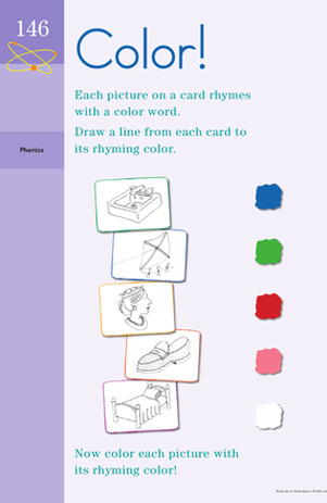 Kindergarten Reading & Writing Worksheets: Rhyming Color Words
