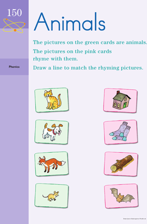 Kindergarten Reading & Writing Worksheets: Rhyming Animals