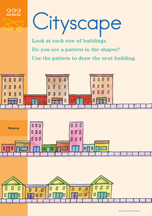 Kindergarten Math Worksheets: Complete the Pattern: Cityscape!