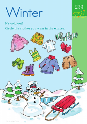Kindergarten Science Worksheets: Winter Wear: Learning About the Seasons