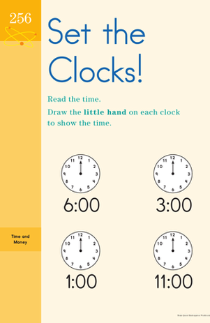 Kindergarten Math Worksheets: Set the Clocks! Learning to Tell Time