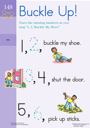Preschool Math Worksheets: 1, 2, Buckle Your Shoe!