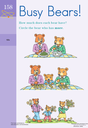 Preschool Math Worksheets: Counting Busy Bears!