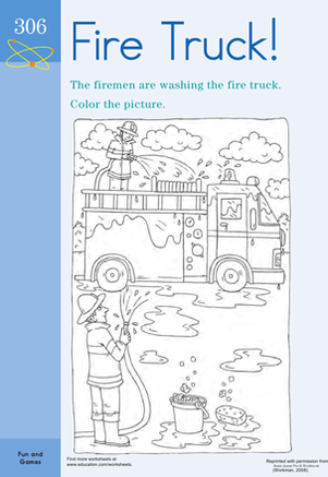 Preschool Coloring Worksheets: Color the Fire Truck!