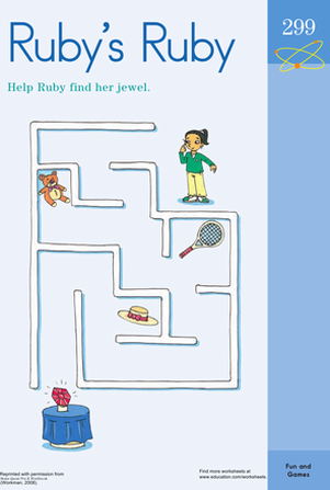 Preschool Offline Games Worksheets: Ruby's Ruby Maze