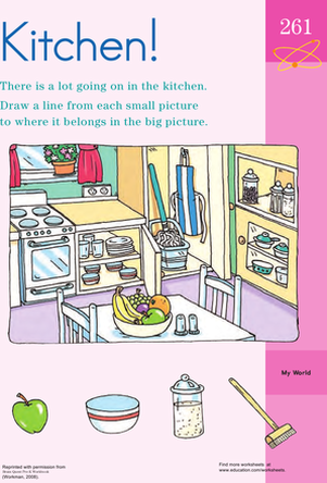 Preschool Math Worksheets: Kitchen Chaos Clean-Up