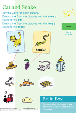 "First Grade Reading & Writing Worksheets: Vowel Phonics: Practicing ""A"" Sounds"
