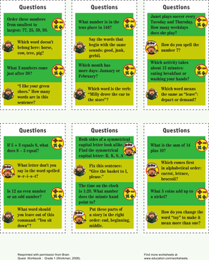 First Grade Science Worksheets: Quizzy Question Cards