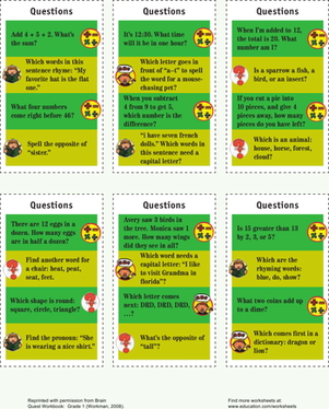 First Grade Science Worksheets: Quizzy Question Cards III