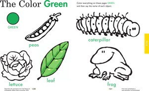 Kindergarten Reading & Writing Worksheets: Get Your Green On: Learning Colors